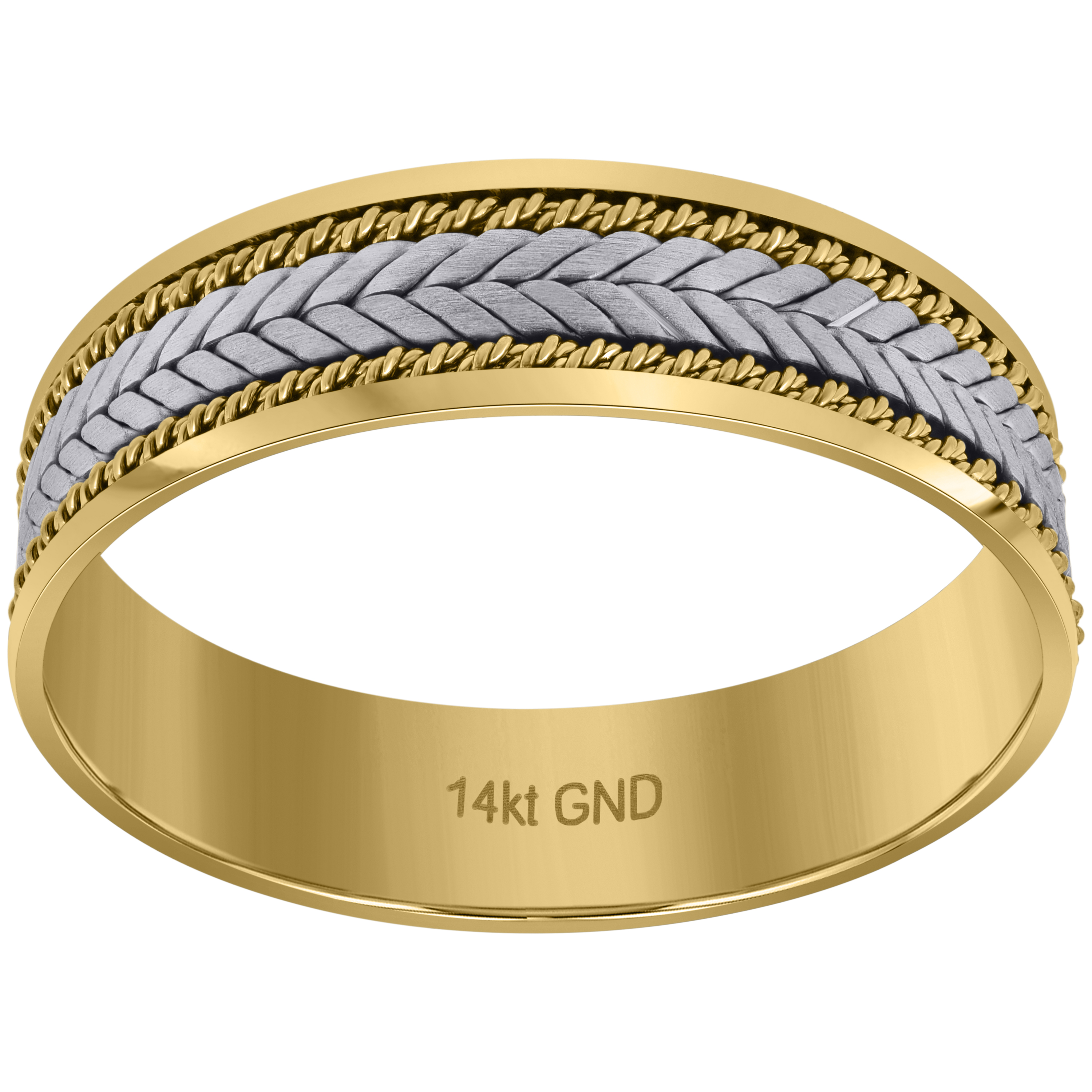 Wedding Jewelry 14kt Gold Mens Twotone Braided Center Double Ropes Twisted Sides 65mmsz12: Twisted Two Tone Wedding Bands At Websimilar.org